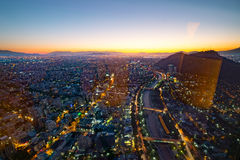 Santiago of Chile Aerial View from the Costanera Center at Sunset Stock Photography