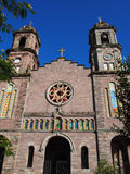 Santiago Apostol church. Main facade of the church. It highlights the two baroque towers on either side of the central body.  It was built between 1916 and 1925 Royalty Free Stock Image