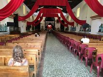 Santiago Atitlan, Guatemala. May 20th, 2018: A handful of peop royalty free stock images