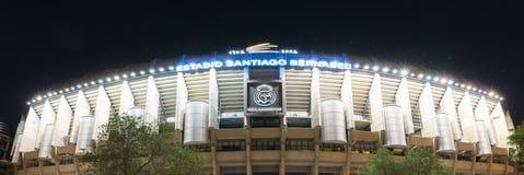 Santiago Bernabéu front façade. Façade of Santiago Bernabéu at night in Madrid stock images
