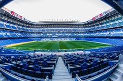 Santiago Bernabéu pitch and tribune. Inside view of stadium Santiago Bernabéu royalty free stock photo