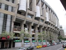 Santiago Bernabéu Stadium Paseo de la Castellana Spain Europe. NnThe Santiago Bernabéu Stadium is a sports venue owned by the Real Madrid Football Club stock photo