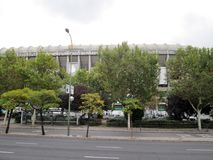 Santiago Bernabéu Stadium Paseo de la Castellana Spain Europe. NnThe Santiago Bernabéu Stadium is a sports venue owned by the Real Madrid Football Club stock image