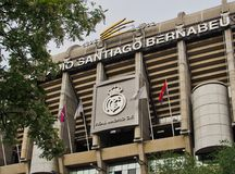 Real Madrid Football Stadium Front facade, , Madrid, Spain Stock Photos