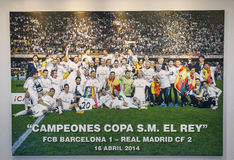 At Santiago Bernabeu Museum. In FC Real Madrid museum at Santiago Bernabeu stadium. Spain royalty free stock photo