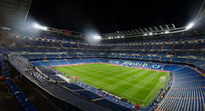 Santiago bernabeu night. MADRID, SPAIN - APRIL 29: Night view of Santiago Bernabeu stadium on April 29, 2015 in Madrid, Spain. Real Madrid C.F. was born in the royalty free stock images