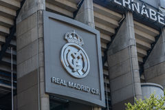 Santiago Bernabeu Stadium. It is the current home stadium of Real Madrid Football Club. Madrid, Spain - September 14, 2016: Santiago Bernabeu Stadium. It is the royalty free stock photography