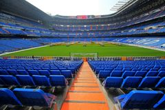 Santiago Bernabeu Stadium in Madrid. Impresive soccer stadium in Madrid. The Santiago Bernabeu is the house of Real Madrid football Team royalty free stock photo