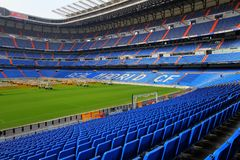 Santiago Bernabeu Stadium in Madrid. Impresive soccer stadium in Madrid. The Santiago Bernabeu is the house of Real Madrid football Team royalty free stock photos