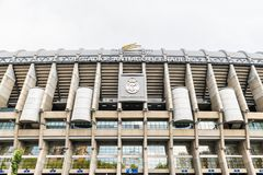 Santiago Bernabeu Stadium in Madrid. Main facade of the Santiago Bernabéu football Stadium in Madrid, Spain, home stadium of Real Madrid. Completed in 1947 stock photography
