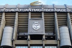 Santiago Bernabeu Stadium in Madrid, Spain. Madrid, Spain - December 18, 2016: Santiago Bernabeu Stadium, the home stadium of Real Madrid since 1947 royalty free stock photo