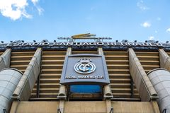 Santiago Bernabeu Stadium. MADRID, SPAIN - JULY 25, 2017: Santiago Bernabeu Stadium of Real Madrid in Madrid, Spain in a beautiful summer day royalty free stock image
