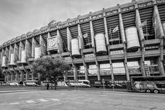 Santiago Bernabeu Stadium in Madrid, Spain. Madrid, Spain - May 22, 2014: Facade of the Santiago Bernabeu Stadium in Madrid, Spain. Black and white photography stock photo