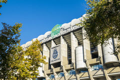 Santiago Bernabeu Stadium in Madrid. Madrid, Spain - November 11, 2015: A view of the Santiago Bernabeu Soccer stadium in Madrid in a clear sky day. A Star Wars royalty free stock photos