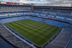 Santiago Bernabeu stadium - the official arena of FC Real Madrid. MADRID, SPAIN - February, 2019 : Santiago Bernabeu Stadium is the current home stadium of Real royalty free stock photo