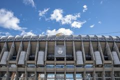 Santiago Bernabeu stadium - the official arena of FC Real Madrid. MADRID, SPAIN - February, 2019 : detail of the facade principal of Santiago Bernabeu Stadium is stock photography