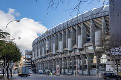 Santiago Bernabeu stadium - the official arena of FC Real Madrid. MADRID, SPAIN - February, 2019 : facade principal of Santiago Bernabeu Stadium is the current stock images