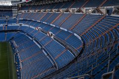 Santiago Bernabeu stadium - the official arena of FC Real Madrid. MADRID, SPAIN - February, 2019 : Stands of Santiago Bernabeu Stadium the current home stadium royalty free stock photo