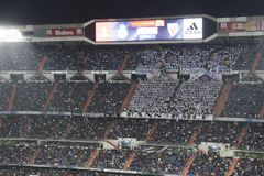 Santiago Bernabeu Stadium during a Real Madrid match in 2016 royalty free stock images