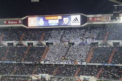 Santiago Bernabeu Stadium during a Real Madrid match in 2016 royalty free stock photography