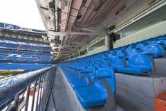 Santiago Bernabeu stadium. At the tribune of Santiago Bernabeu stadium royalty free stock photo