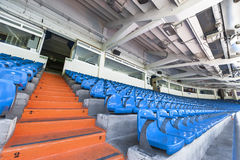 Santiago Bernabeu stadium. At the tribune of Santiago Bernabeu stadium stock photography