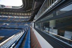 At Santiago Bernabeu Stadium. At the tribune of Santiago Bernabeu stadium. Madrid, Spain stock image