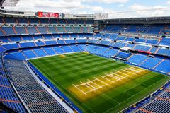 Santiago Bernabeu staduim. MADRID - APRIL 14, 2018: Panoramic view of the Santiago Bernabeu stadium, the home arean of the football club Real Madrid royalty free stock photo