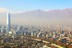 Santiago, capital of Chile under early morning fog Royalty Free Stock Photo