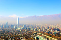 Santiago, capital of Chile under early morning fog Stock Photo