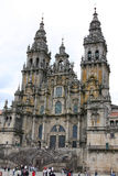 Santiago cathedral. Santiago de compostela cathedral. View of the two towers Stock Image