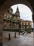 Santiago cathedral under an arch Stock Photography