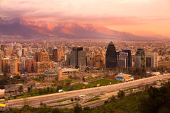 Santiago, Chile. Panoramic view of Las Condes and Providencia districts, Santiago, Chile, South America Royalty Free Stock Images