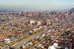 Santiago, Chile. Aerial view of President Kennedy Expressway, Las Condes district, Santiago, Chile, South America Royalty Free Stock Photography