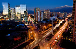 Santiago, Chile. Busy traffic in Santiago, Chile with the Andes in the background Royalty Free Stock Images