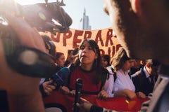 Students Protest Education Profit. Santiago, Chile - April 19, 2018: Amanda Luna Cea, ACES Asamblea Coordinadora de Estudiantes Secundarios spokeswoman speaking Royalty Free Stock Image