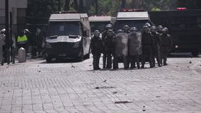Riot police, Chile stock footage