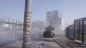 Riot police, Chile stock video footage