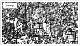Santiago Chile City Map dans la couleur noire et blanche illustration de vecteur