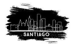 Santiago Chile City Skyline Silhouette Croquis tiré par la main illustration libre de droits