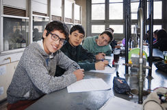 Santiago, Chile. July 21, 2017. Young students in laboratory. Santiago, Chile. July 21, 2017. Young students in chemical science laboratory Stock Images