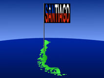 Santiago on Chile map Royalty Free Stock Photo