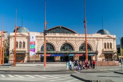 SANTIAGO, CHILE - MARCH 28, 2015: Building of Estacion Mapocho, former train station, refitted as a cultural centr. E stock photos