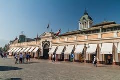 SANTIAGO, CHILE - MARCH 28, 2015: Building of Mercado Central market in the center of Santiago, Chi. Le stock image