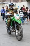People of Chile. SANTIAGO, CHILE - NOV 1, 2014:  Unidentified Chilean man on the motorcycle. Chilean people are mainly of mixed Spanish and Amerindian descent Royalty Free Stock Photos