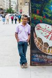 People of Chile. SANTIAGO, CHILE - NOV 1, 2014:  Unidentified Chilean man portrait. Chilean people are mainly of mixed Spanish and Amerindian descent Stock Image