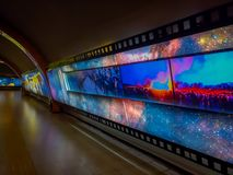 SANTIAGO, CHILE - OCTOBER 09, 2018: Indoor view of art in the wall of the hall inside of the Estacion Alameda, central. Station in Santiago of Chile stock images