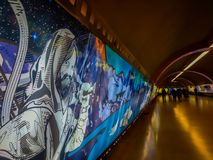 SANTIAGO, CHILE - OCTOBER 09, 2018: Indoor view of art in the wall of the hall inside of the Estacion Alameda, central. Station in Santiago of Chile stock photo