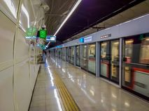 SANTIAGO, CHILE - OCTOBER 09, 2018: Unidentified people inside of electric train on central railway station in Santiago. Chile stock images
