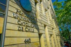 SANTIAGO, CHILE - OCTOBER 16, 2018: Universidad Catolica de Chile - Catholic University Front Entrance.  stock images